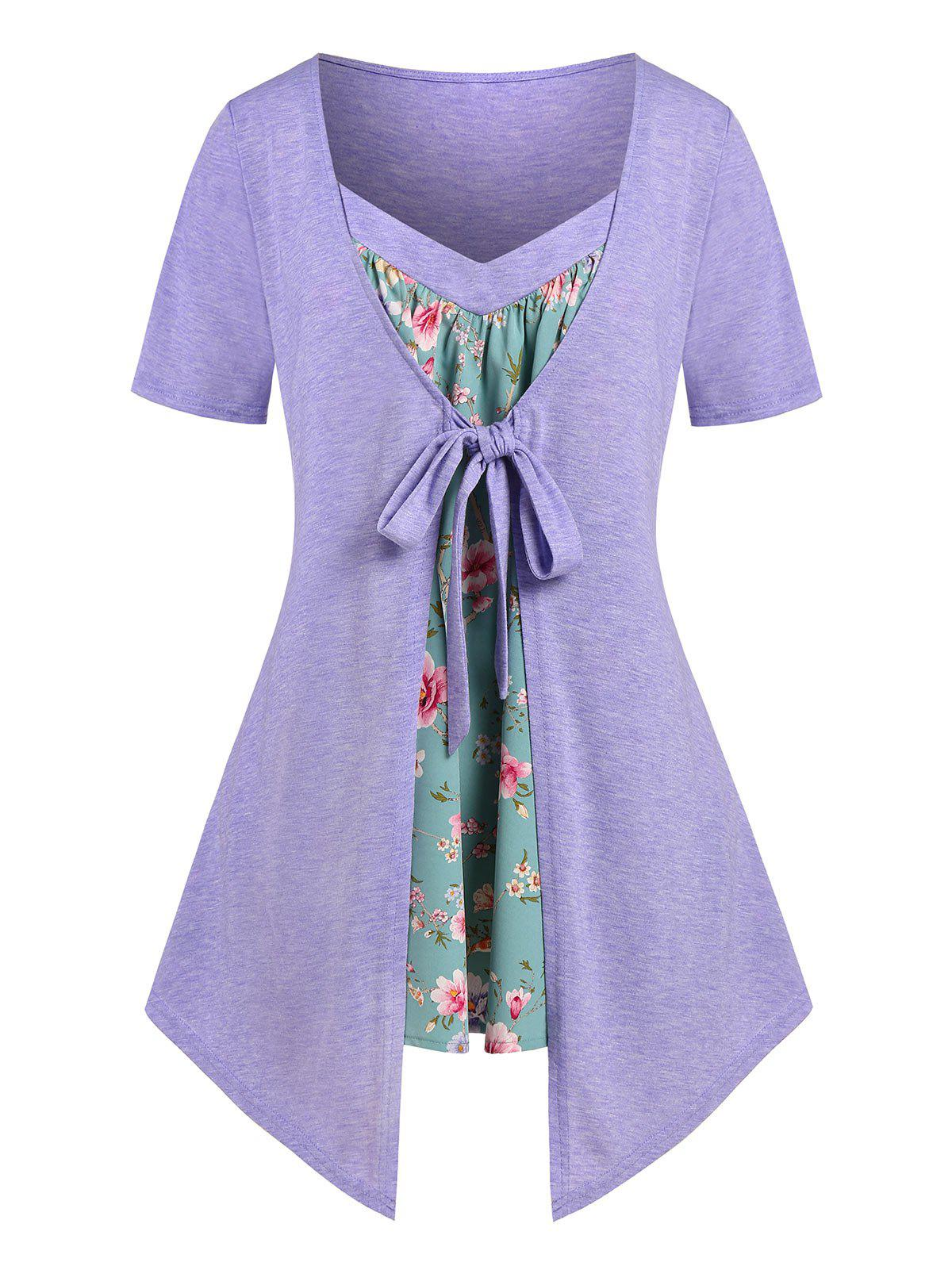 Fashion Plus Size Floral Print Front Tie 2 in 1 Tee