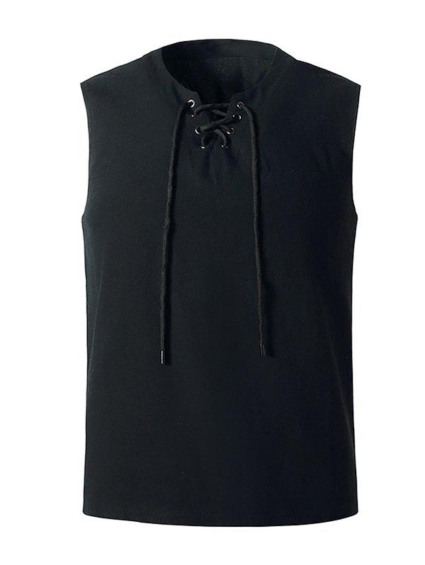 Cheap Lace-up Front Pocket Tank Top