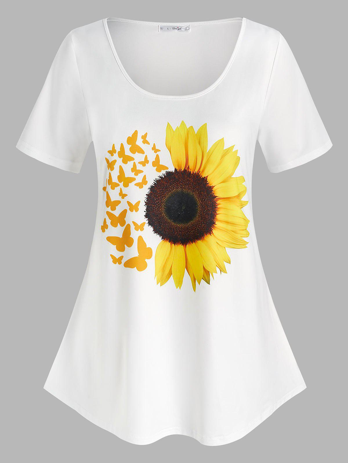 Cheap Plus Size Sunflower Butterfly Pattern T Shirt