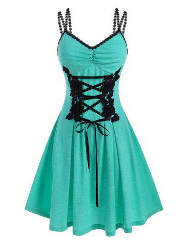 Lace Up Flower Applique Ruched Corset Style Dress - LIGHT GREEN - XXL
