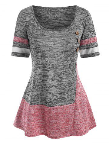 Colorblock Mock Button Striped T Shirt - GRAY - XXL