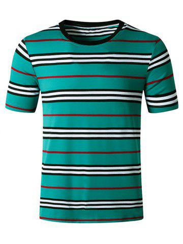 Striped Print Short Sleeves T Shirt - BLUE - XL