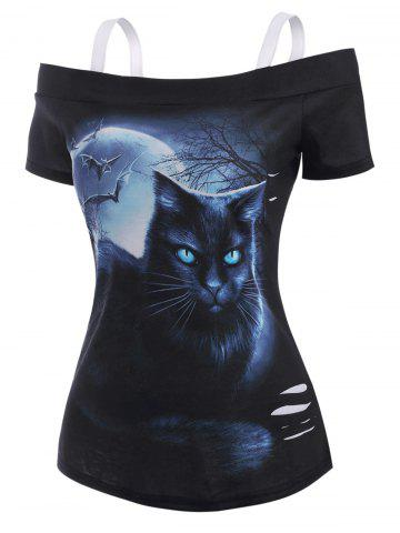 3D Cat Moon Print Open Shoulder Distressed T Shirt