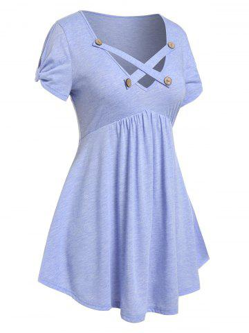 Plus Size Skirted Criss Cross Knotted Sleeve T-shirt - LIGHT PURPLE - 1X
