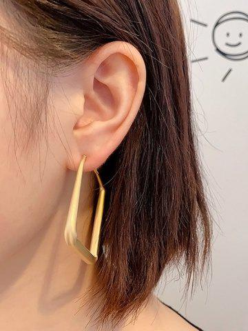 Matte Golden Square Hoop Earrings