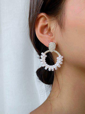 Faux Pearl Rhinstone Circular Drop Earrings