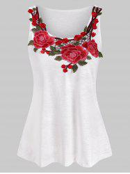 Casual Flower Embroidered Tank Top -