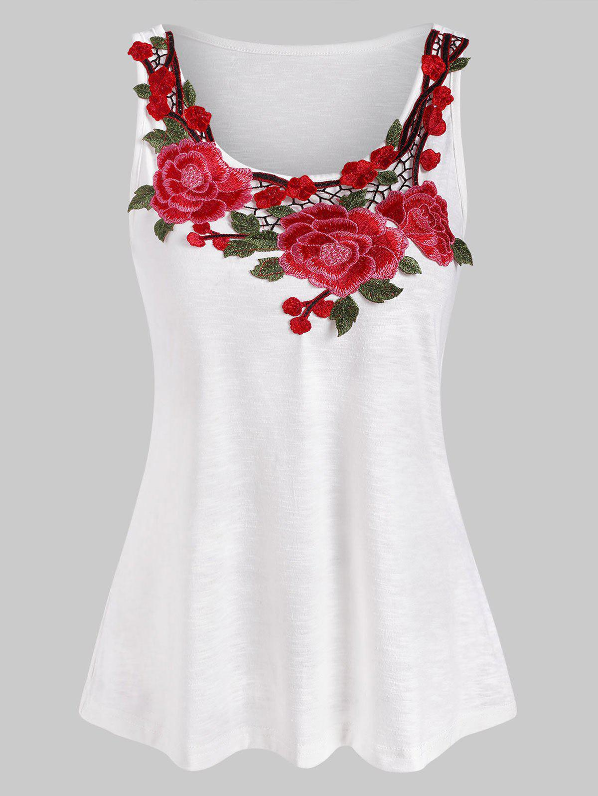 New Casual Flower Embroidered Tank Top