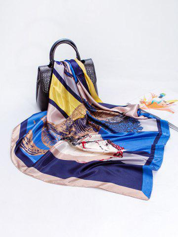 Colorblock Horse Print Faux Silk Scarf