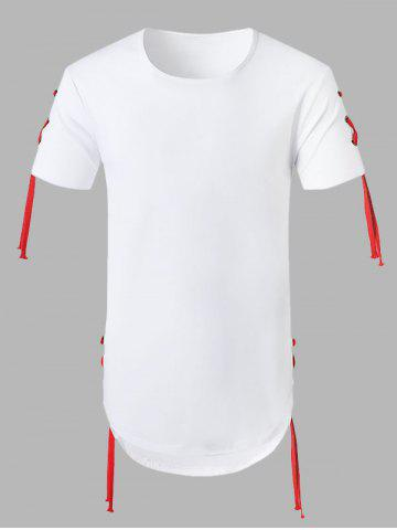 Solid Lace Up Casual T-Shirt