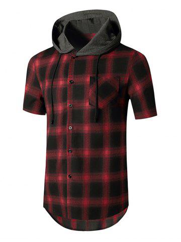 Plaid Print Casual Hooded Shirt - RED - XXL