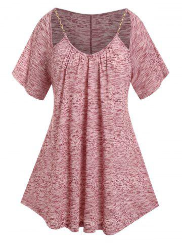 Plus Size Cut Out Chain Pleated Marled T Shirt - DEEP RED - 1X