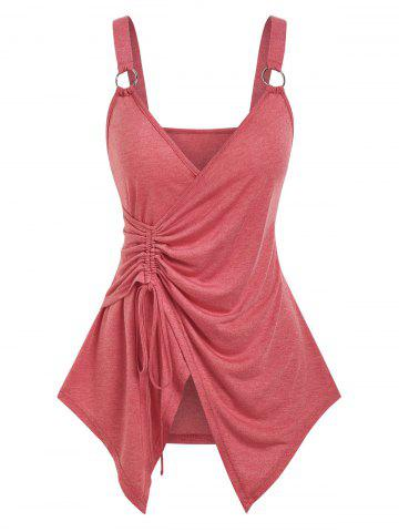 Cinched O-ring Strap Surplice Tank Top