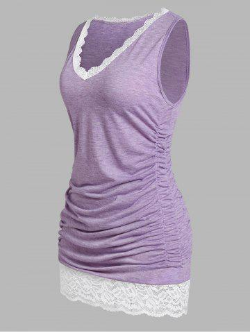 Plus Size Lace Panel Ruched Tank Top - PURPLE - 3X
