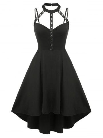 Plus Size Harness Cutout High Low Gothic Dress