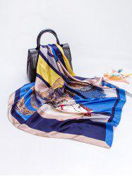 Colorblock Horse Print Faux Silk Scarf -
