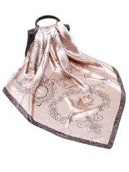 Rose Scribble Print Faux Silk Scarf -