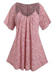 Plus Size Cut Out Chain Pleated Marled T Shirt -
