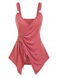 Cinched O-ring Strap Surplice Tank Top -