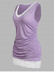 Plus Size Lace Panel Ruched Tank Top -