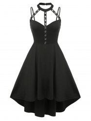 Plus Size Harness Cutout High Low Gothic Dress -