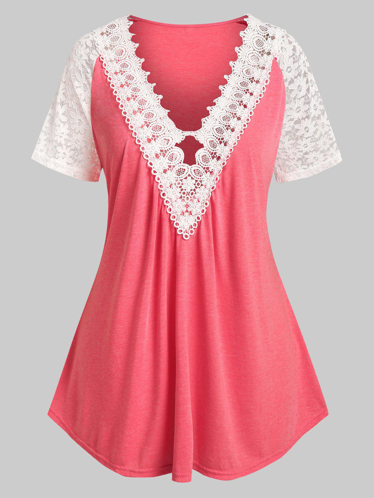 Chic Plus Size Lace Panel Plunging Neck Tee