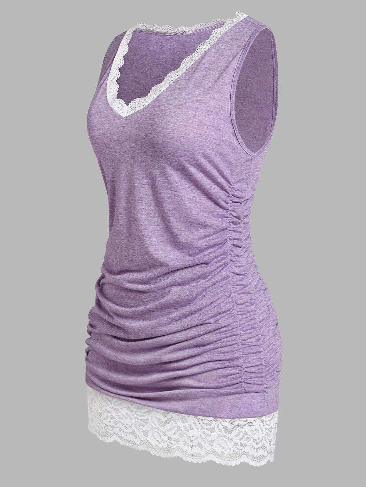 Outfit Plus Size Lace Panel Ruched Tank Top
