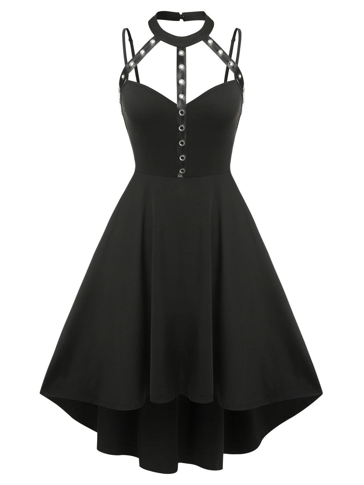 Outfit Plus Size Harness Cutout High Low Gothic Dress