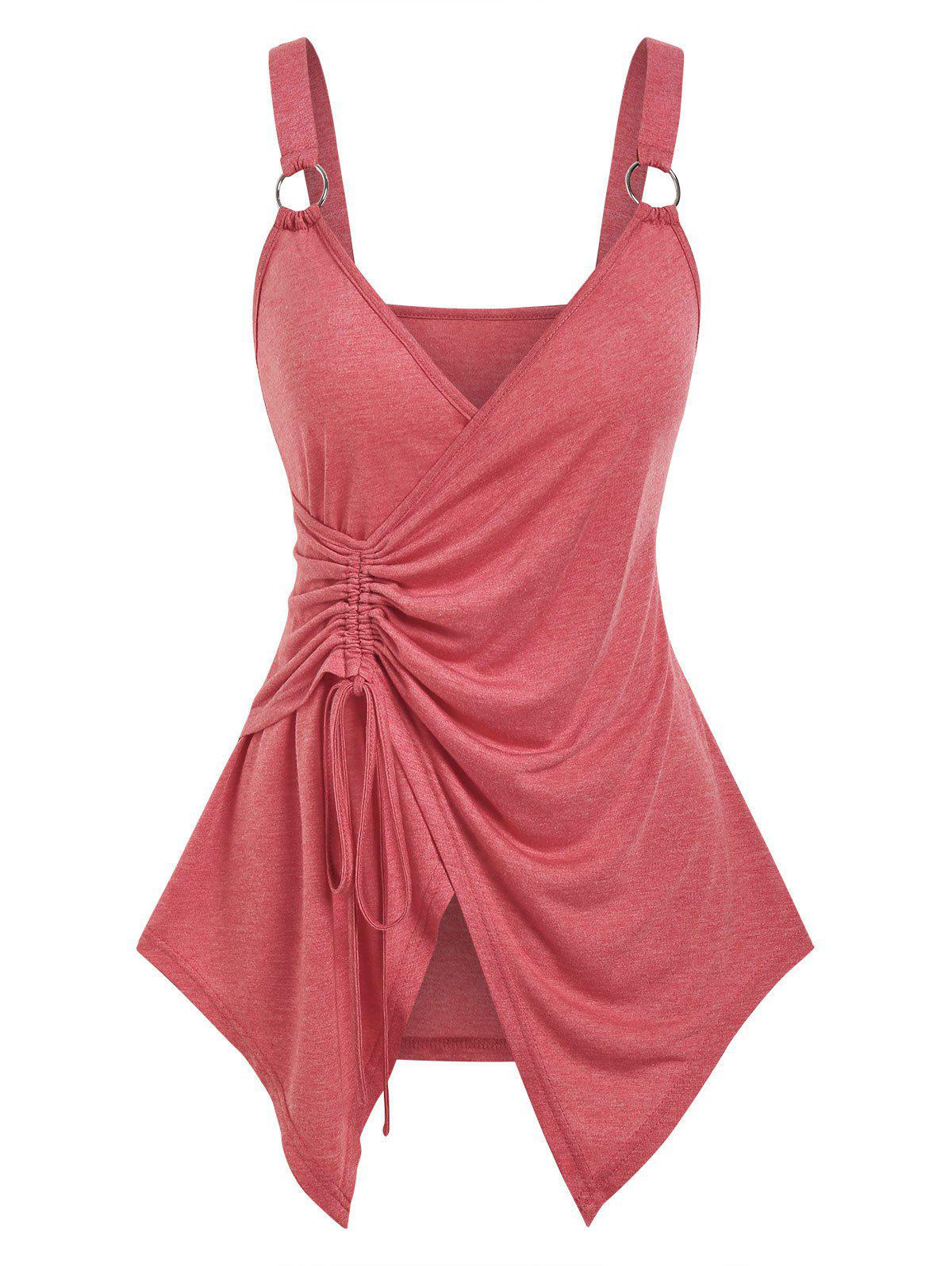 Hot Cinched O-ring Strap Surplice Tank Top
