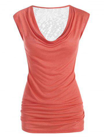 Plus Size Draped Lace Panel Ruched Sheer Tunic Tank Top