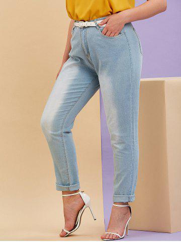 Mid Rise Pockets Plus Size Tapered Jeans - LIGHT BLUE - 3XL