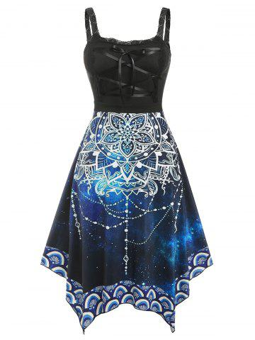 Plus Size Lace Up Floral Galaxy Irregular Dress - BLACK - 1X