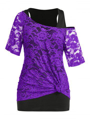 Plus Size Lace See Thru T-shirt and Tunic Tank Top Set - PURPLE - 2X
