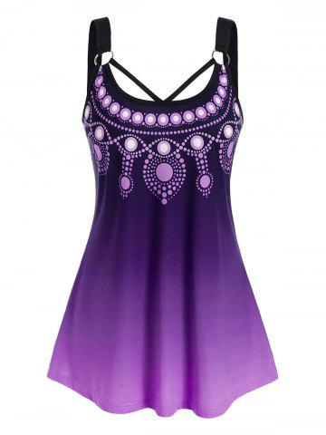 Plus Size Ombre Ring Cutout Backless Tunic Tank Top - PURPLE - 4X
