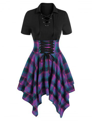 Lace-up Plaid Print Layered Handkerchief Dress