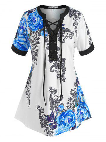 Plus Size Lace-up Flower Print Cuffed Sleeve Tee - BLUE - L