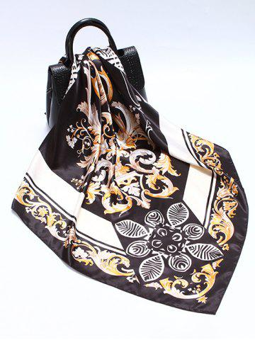 Printed Flower Leaves Satin Square Scarf
