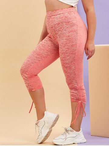 Plus Size Space Dye Print Cinched Leggings - LIGHT PINK - 3X