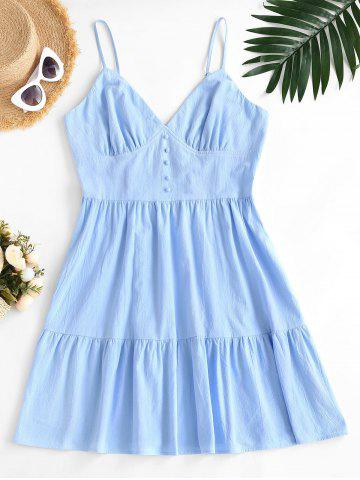 Plus Size Spaghetti Strap Smocked Back Tiered Dress - LIGHT BLUE - 5XL
