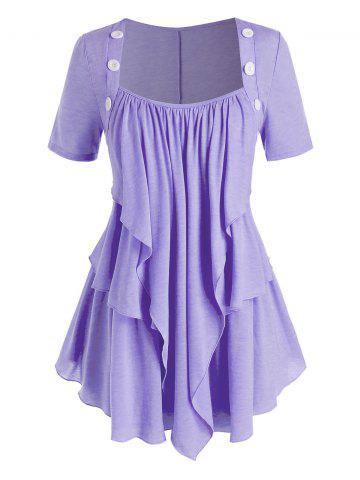 Plus Size Layered Draped Buttoned Round Hem Tunic Tee - PURPLE - 3X