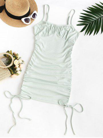 Plus Size Spaghetti Strap Ribbed Cinched Ruched Slinky Bodycon Dress - LIGHT GREEN - 3XL