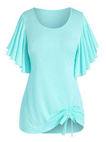 Plus Size Butterfly Flutter Sleeve Cinched Tunic T-shirt - LIGHT GREEN - 1X