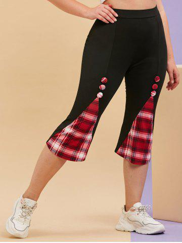 Plus Size Plaid Godet Covered Button Cropped Leggings