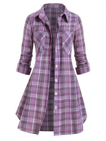 Plus Size Pockets Button Up Checked Blouse
