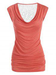 Plus Size Draped Lace Panel Ruched Sheer Tunic Tank Top -