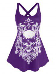 Plus Size Skull Pattern Cross Back Tank Top -