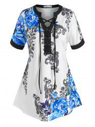 Plus Size Lace-up Flower Print Cuffed Sleeve Tee -