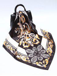 Printed Flower Leaves Satin Square Scarf -
