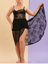 Plus Size Butterfly Floral Lace Wrap Cover Up Dress -