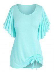 Plus Size Butterfly Flutter Sleeve Cinched Tunic T-shirt -